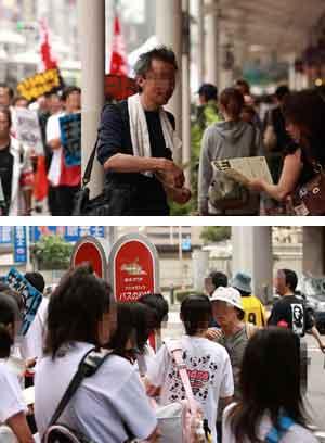 参加者の訴えを聞いてデモに参加する中高生や市民も多数