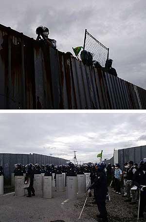 三里塚(成田)闘争 反対派を監視する公安刑事と機動隊 2010年6・27
