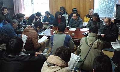 工事着工への対応を協議する反対同盟農民