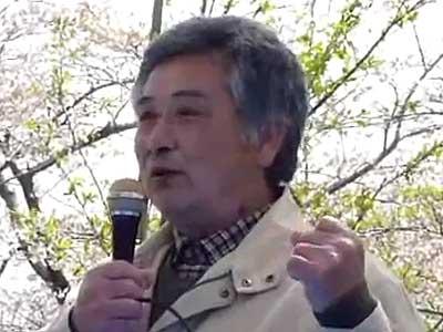 萩原進さん(反対同盟お花見会にて)