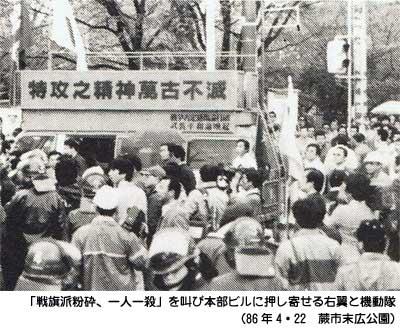 「戦旗派粉砕、一人一殺」を叫び本部ビルに押し寄せる右翼と機動隊(86年4・22 蕨市末広公園)