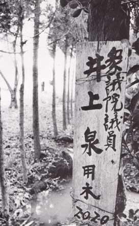 立木に取り付けられた売買契約者の名札