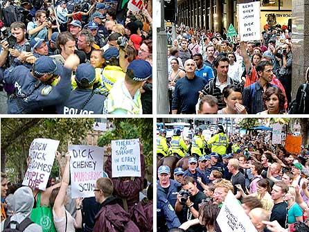 オーストラリア:チェイニー訪豪抗議闘争