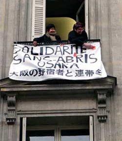 大阪の野宿労働者に連帯してフランス市民が日本大使館を占拠