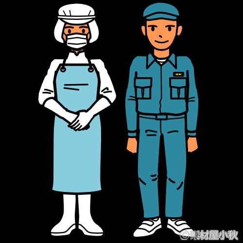 食品工場の外国人労働者のイラスト