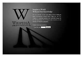 ウィキペディアやグーグル閉鎖、米海賊防止法案に一斉抗議