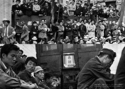 60年安保 安保反対ゼネストが国民的理解の元に決行。多くの市民が労働者と共に座り込み、商店街も自発的に休業。日本ではじめてゼネストが成功した。