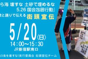 『美ら海 壊すな 土砂で埋めるな 5.26国会包囲行動』を歌と踊りで伝える街頭宣伝