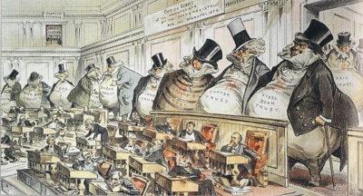 議会を支配する各業種の独占資本(アメリカの風刺画)