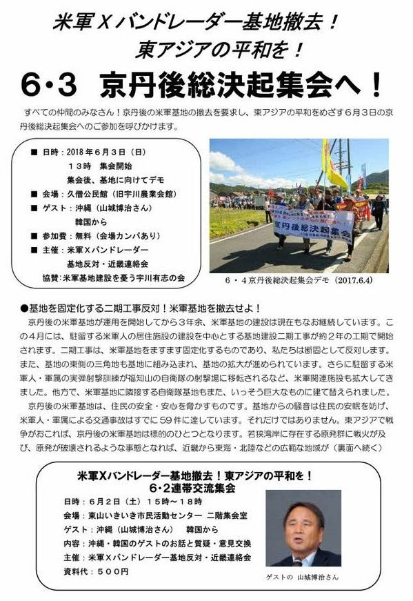 米軍Xバンドレーダー基地撤去!東アジアの平和を! 6・3京丹後総決起集会