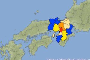 大阪府北部を中心に広い範囲で地震  震度6、原発地帯は震度4~3?