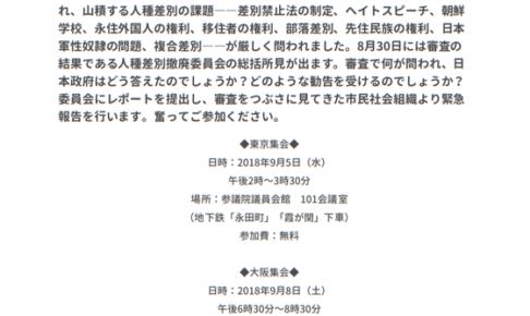 緊急報告集会-国連人種差別撤廃委員会日本審査