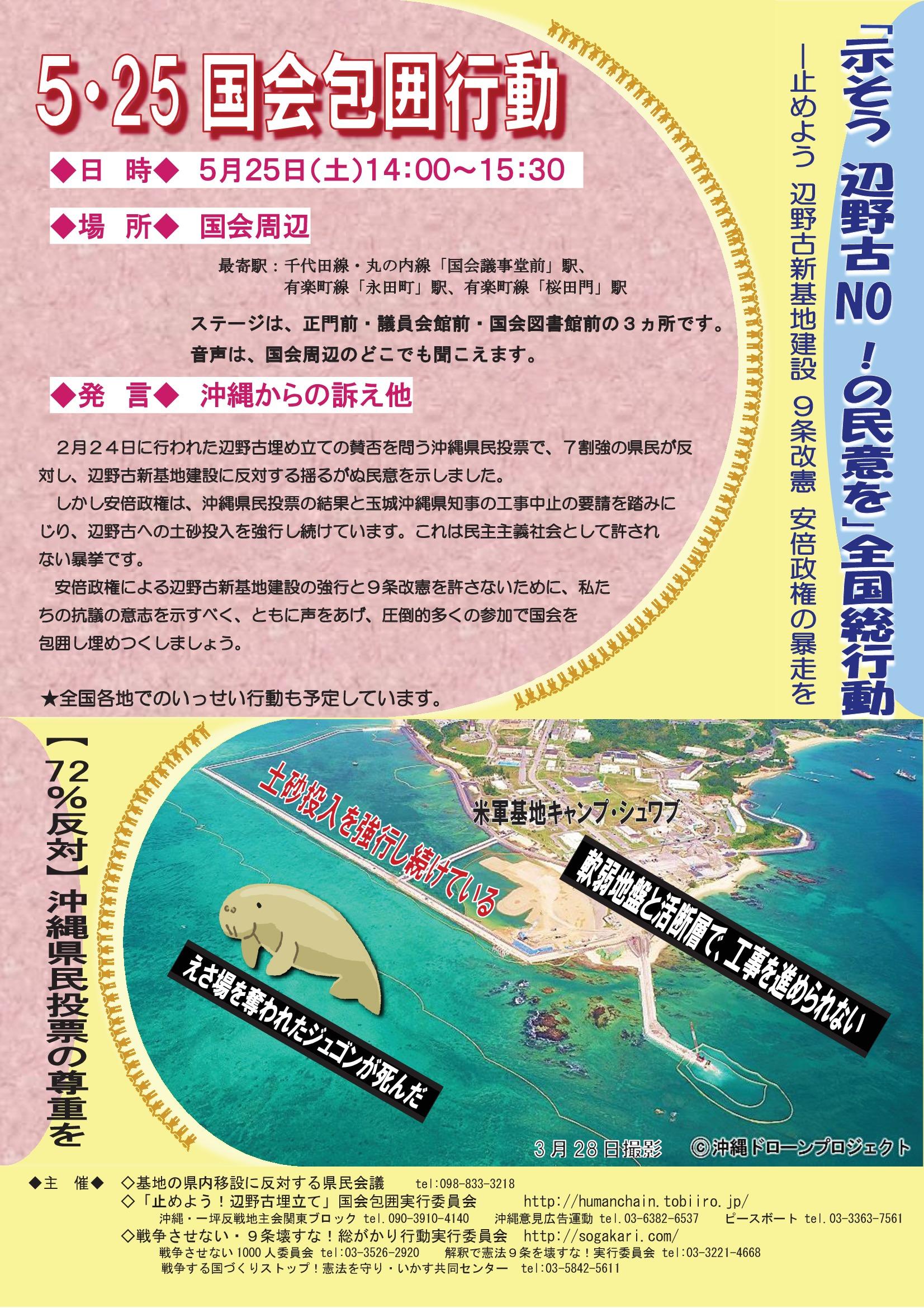止めよう辺野古新基地建設・9条改憲・安倍政権の暴走を!5・25国会包囲行動