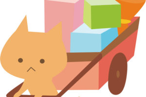 無料イラスト] リアカーを引いて引越しする猫
