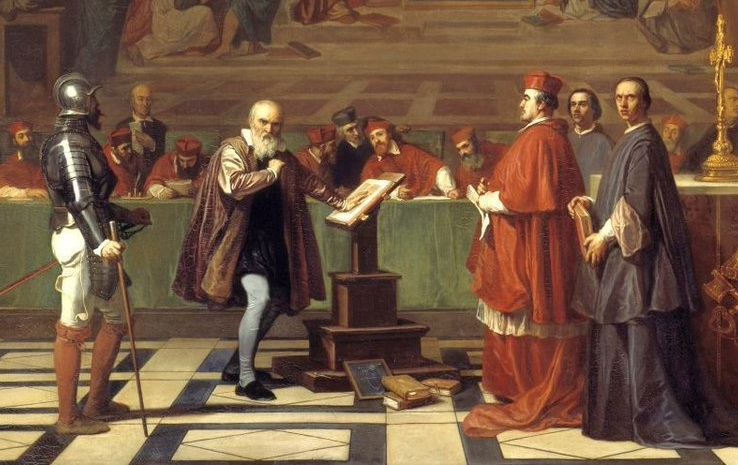 ローマの異端審問所で異端審問を受けるガリレオ(部分)